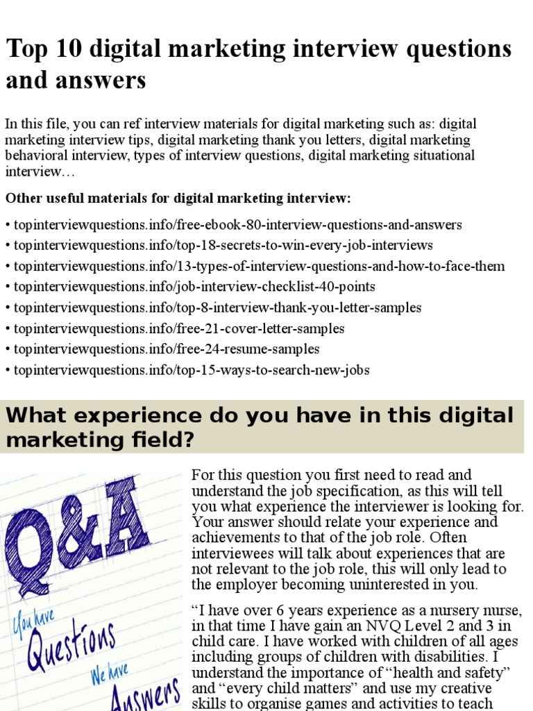 top 10 digital marketing interview questions and answerspptx job interview interview