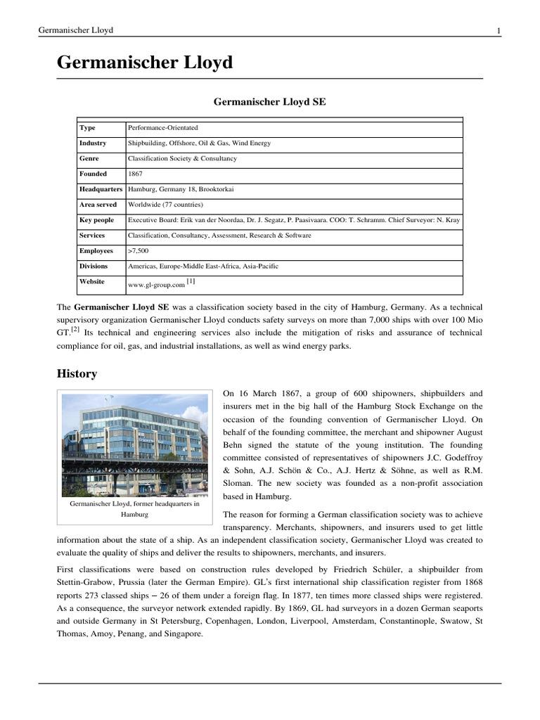 Germanischer Lloyd (GL) | Water Transport | Shipping