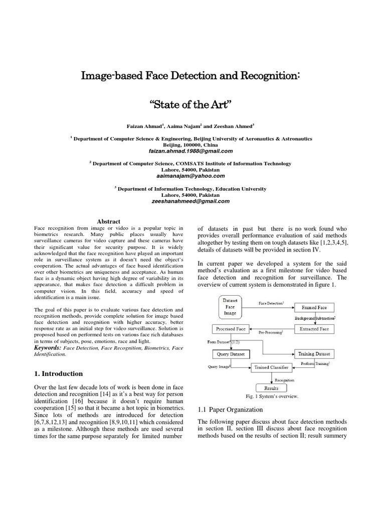 """Image-based Face Detection and Recognition- """"State of the"""