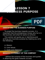 Business Purpose and Business Environment