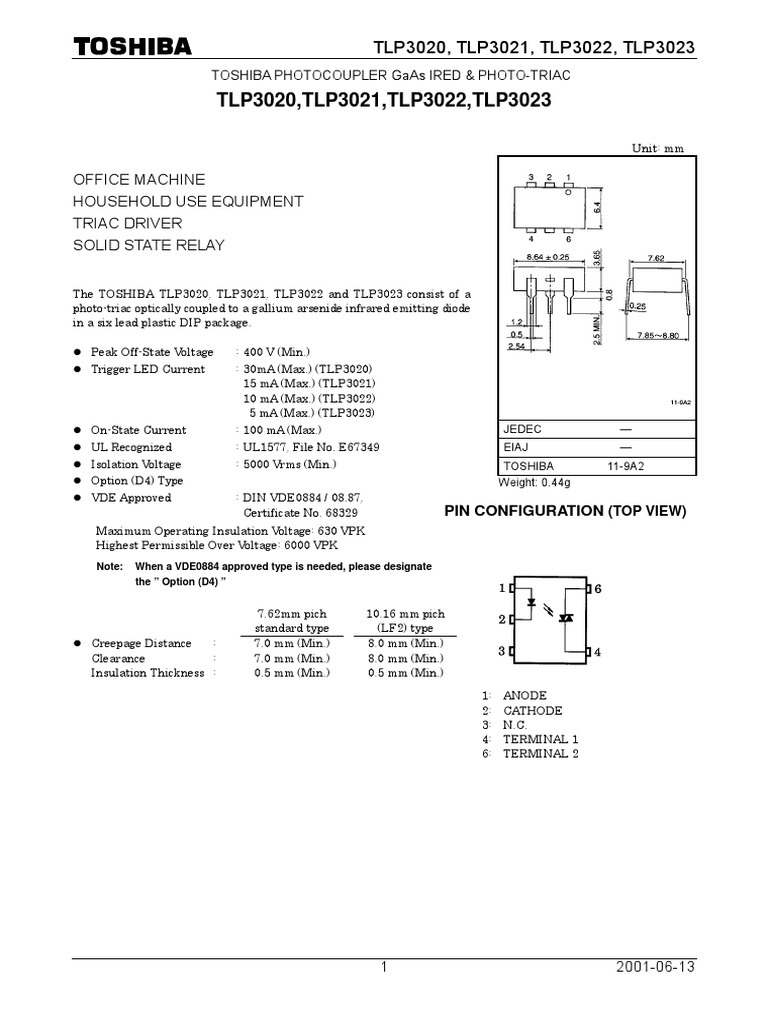 Tlp 3022 Gallium Arsenide Medical Device Solid State Relay Driver