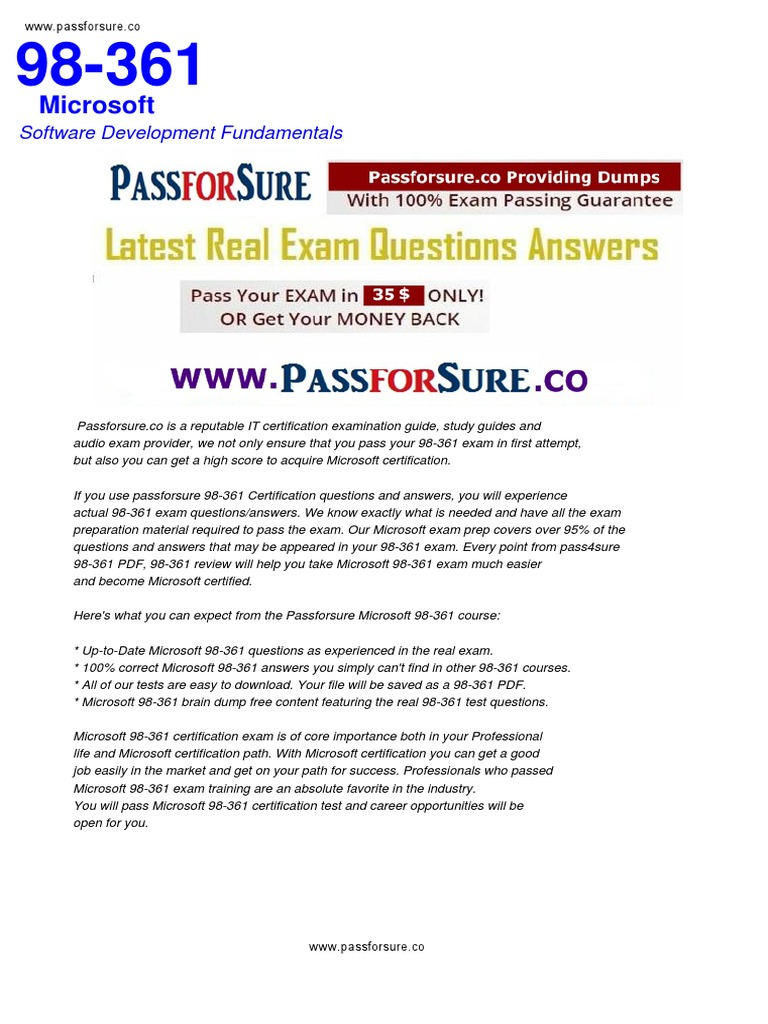Free 98 361 Exam Questions Pdf Microsoft Test Assessment