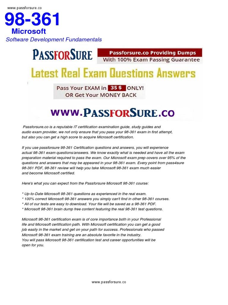 Free 98 361 Exam Questions Pdf Microsoft Test Assessment