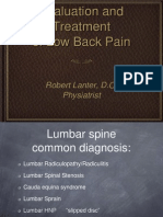 Evaluation and Treatment of Low Back Pain
