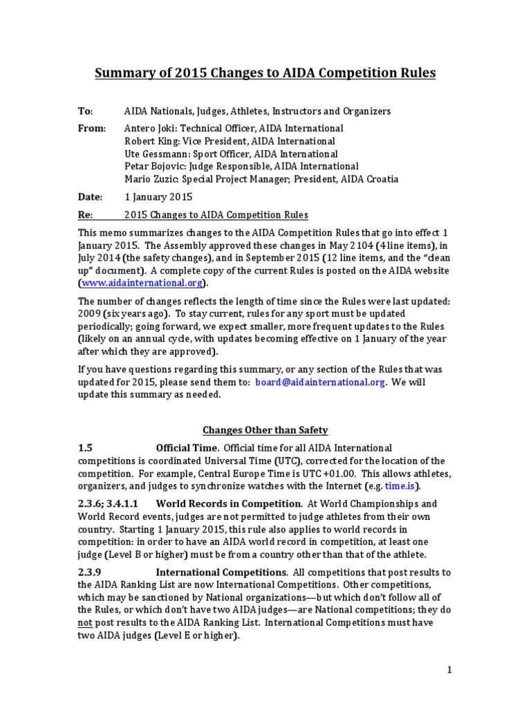 AIDA Summary Of Rule Changes 2015
