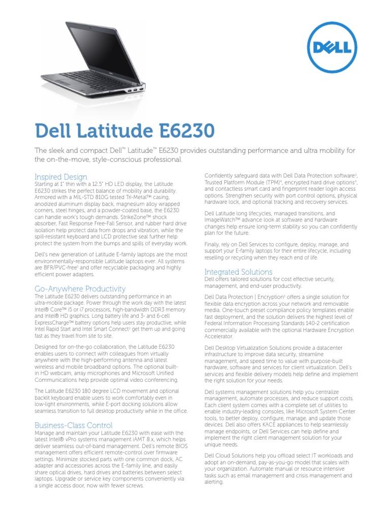 Dell Latitude e6230 Spec Sheet   Solid State Drive   Intel