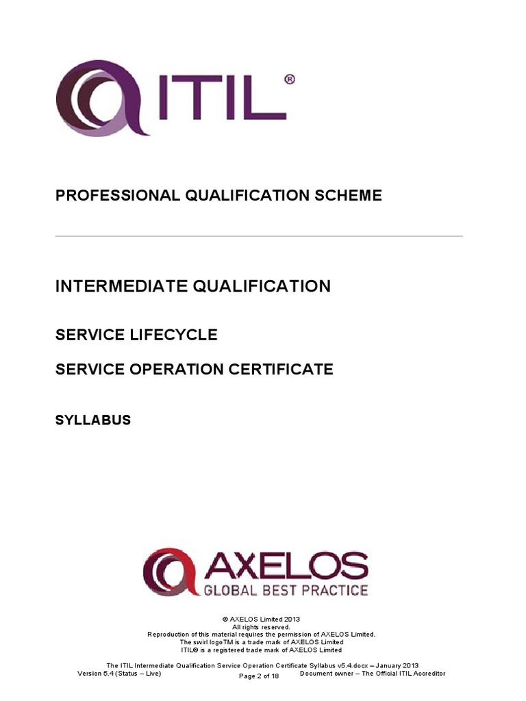 The itil intermediate qualification service operation certificate the itil intermediate qualification service operation certificate syllabus v54 itil it service management 1betcityfo Choice Image