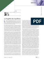La fragilité des équilibres - Edito par Jacques Mestre - RLDC de février