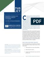 Regulatory Analysis and Regulatory Reform