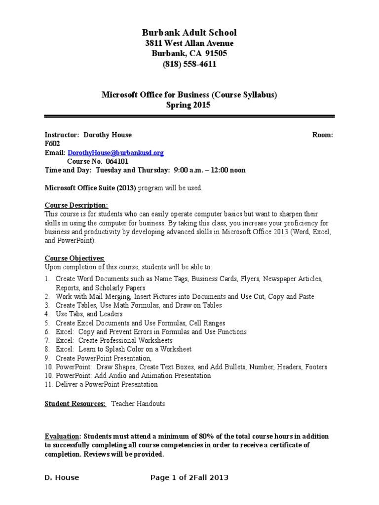 Burbank Adult School Advanced Mofb Syllabus Fall 2015 Microsoft