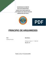 Informe de Laboratorio de Fisica Principio de Arquimedes