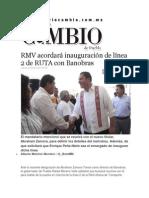 29-01-2015 Diario Matunito Cambio de Puebla - RMV Acordará Inauguración de Línea 2 de RUTA Con Banobras