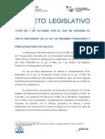 1-1999. Testo Refundido de La Ley de Régimen Financiero y Presupuestario de Galicia