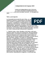 Declaración de Independencia de Uruguay 1825
