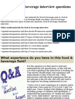 Top 10 food & beverage interview questions and answers pptx