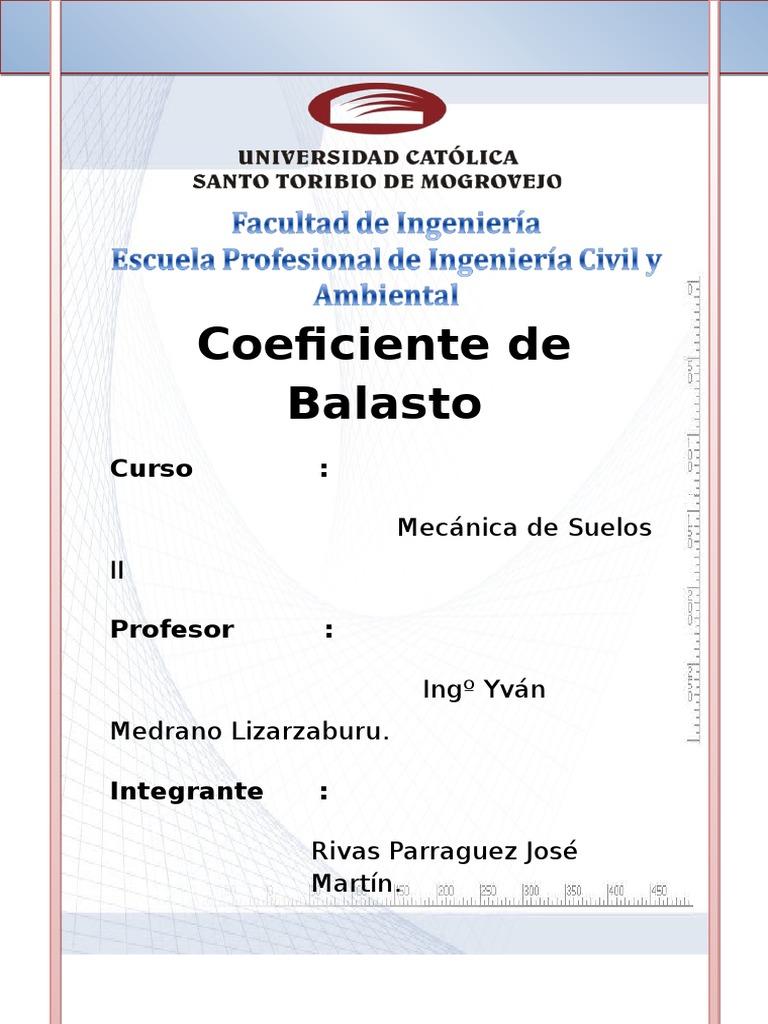 Coeficiente Balasto Fundación Ingeniería Rigidez