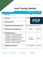 Skillwith Training Schedule