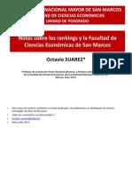 Los Rankings y La Facultad de Ciencias Económicas de La Universidad de San Marcos (Perú). Octavio Suarez