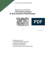 Trois motets profanes & deux chansons latin-français / Roland de Lassus