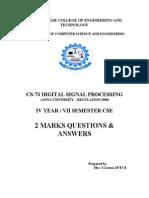 Cse-2012 13 Odd-IV Cse-2 Marks-cs73 Dsp 2marks