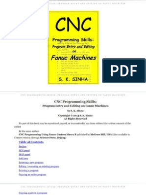 CNC Program Entry and Editing on Fanuc Machines S K  Sinha   Bracket