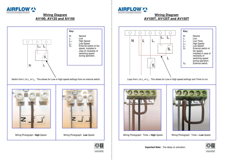 Aventa Wiring diagram - for the Airflow mixed flow in-line extractor on