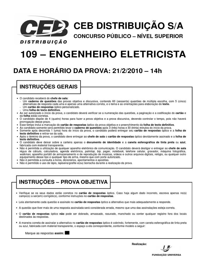 Funiversa 2010 Ceb Engenheiro Eletricista Prova c82d84dfac