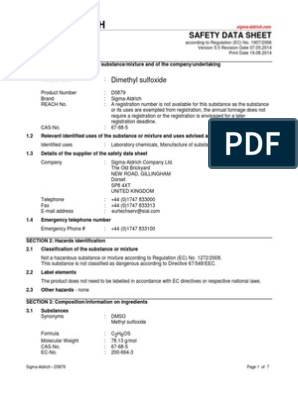 Dmso Safety Data Sheet Dangerous Goods Chemistry