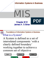 Chapter # 01 Introduction to MIS