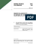 NTC 220 Cementos. Determinación de La Resistencia de Morteros de Cemento Hidráulico Usando Cubos de 50mm ó 50.8mm de Lado