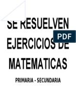 Se Resuelven Ejercicios de Matematicas