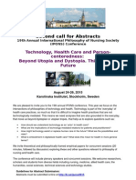 second call for abstracts technology and health care karolinska institutet sweden 2015