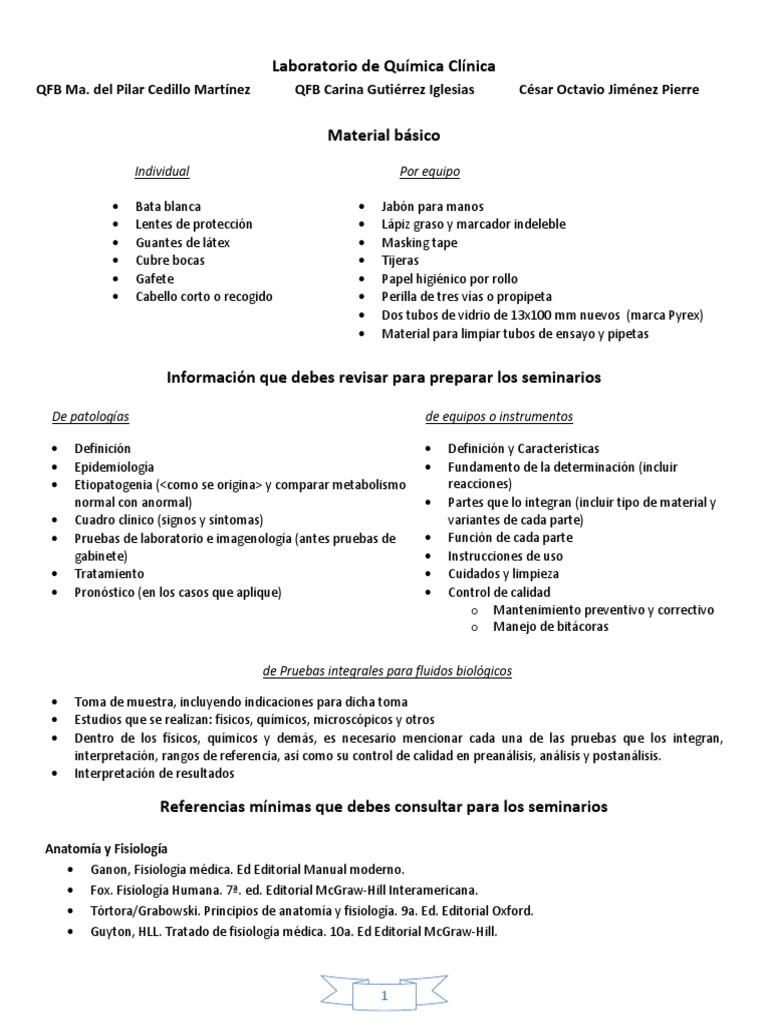 Material Básico e Indicaciones de Trabajo en El Labo