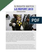 Informe Human Rights Watch 2015 Cap Tulo Venezuela