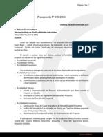 015 Presupuesto Estudio Factibilidad y Diseño Centro Certificación Estanques UACh
