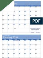 2016 Calendar Bold