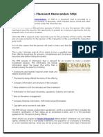 1382574Placement Memorandum FAQs94 Private Placement Memorandum FAQs