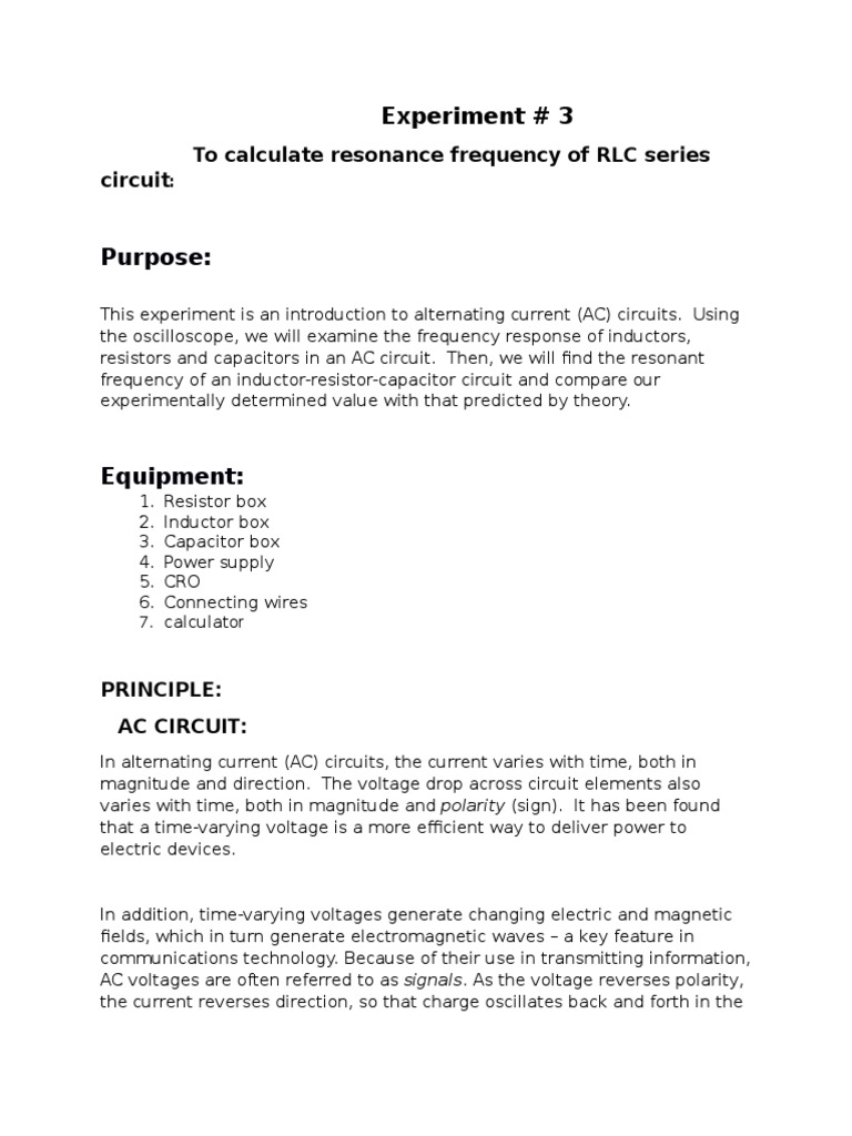 Lab Report 3 Electrical Impedance Capacitor Resistorinductor Circuits Reactance And Inductive