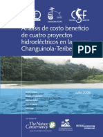 Analisis de Costo Beneficio de Cuatro Proyectos Hidroelectricos en La Cuenca Changuinola-Teribe