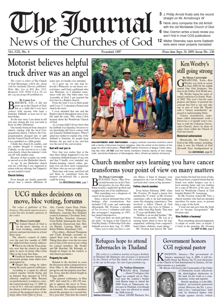 THE JOURNAL: News of the Churches of God | Protestant