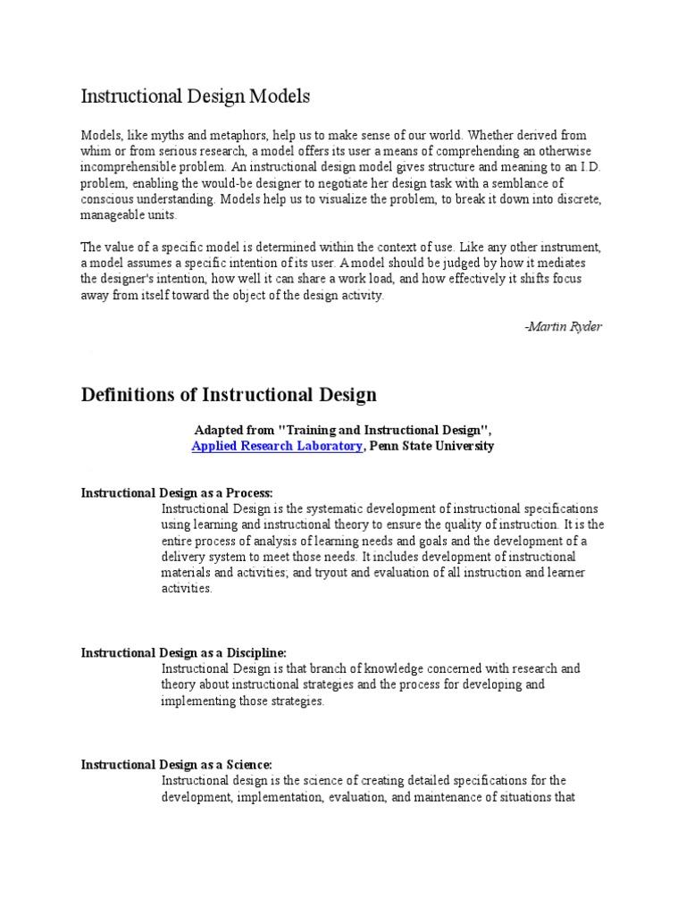 Instructional Design Models Instructional Design Design