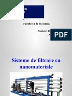 Sisteme de Filtrare Cu Nanomateriale