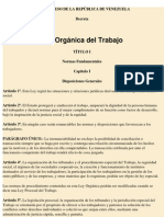 Ley Orgánica Del Trabajo - Legislación