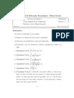 3ª Prova Cálculo I- Integrais Indefinidas