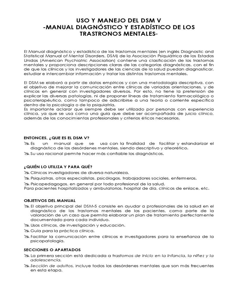 Uso Y Manejo Del Dsm Pdf Manual Diagnóstico Y Estadístico De Los Trastornos Mentales Trastorno Mental
