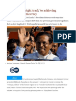 Sri Lanka 'on Right Track' to Achieving Sustainable Democracy