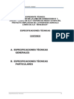 Especificaciones Técnicas Irrigacion Lomas de Ilo