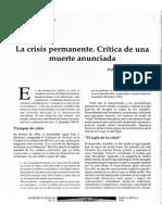 La crisis premanente. Crítica de una muerte anunciada