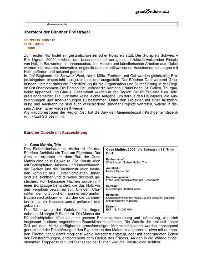 Artikel Buendner Holzpreis 2009