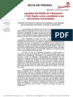 Nota Prensa PSOE - Toñi Ayala Candidata a La Alcaldia